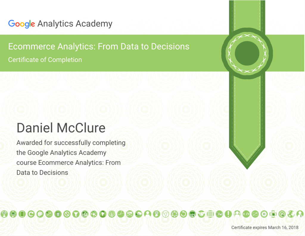 Ecommerce Analytics Certificate