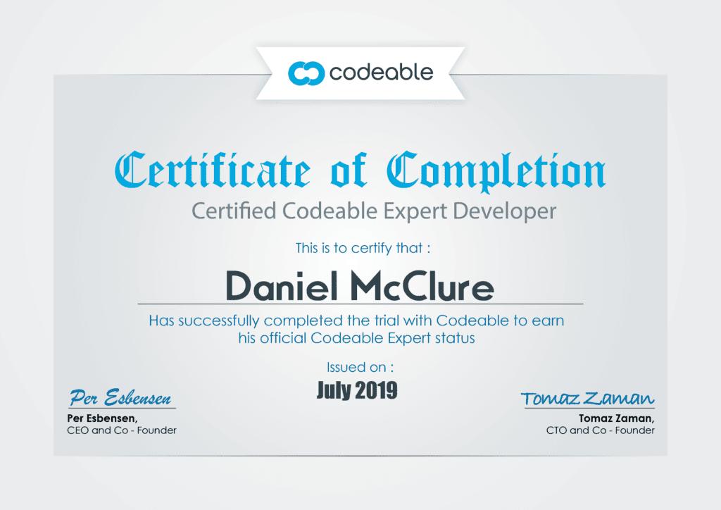 Daniel McClure Codeable Certificate