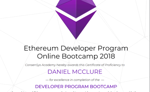 Ethereum Developer Program Certificate