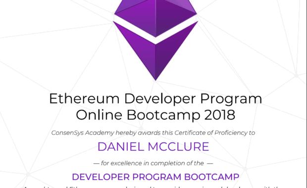 Ethereum Developer Program Certificate