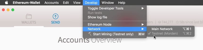 Selecting the Ethereum Testnet