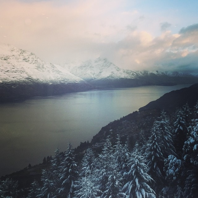 #Winter teaser in #Queenstown. #Snow in the #Mountains beside #LakeWakatipu.
